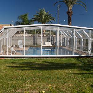 Cubierta elevada telescópica piscina Zeus