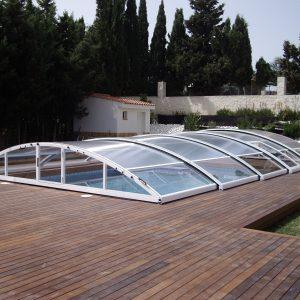 Cubierta elevada telescópica piscina Ares