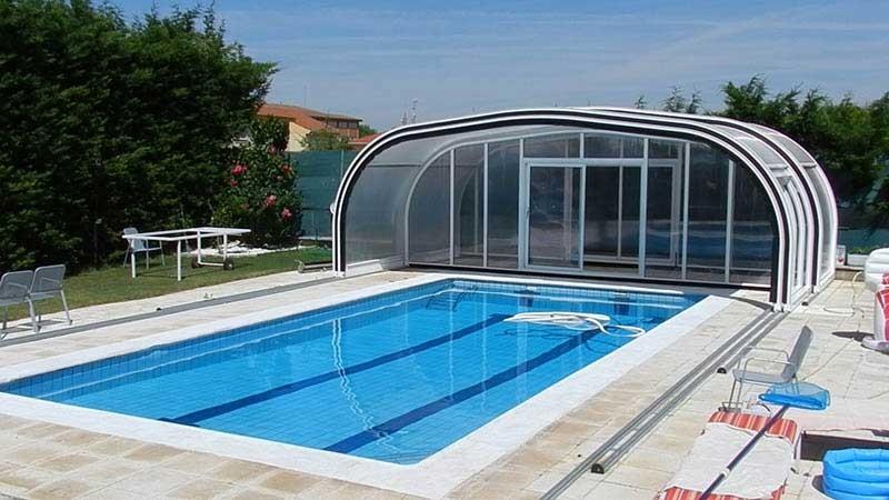 Cubierta elevada policarbonato piscina modelo Móvil Telescópica