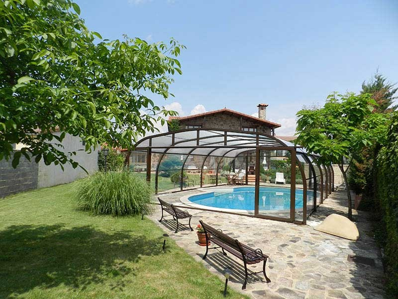 Cubierta elevada policarbonato piscina modelo Fija
