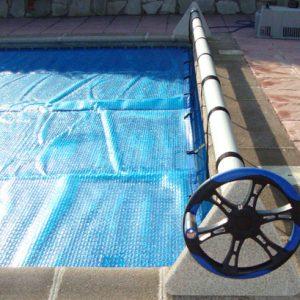 Enrollador cobertor piscina soporte de piedra