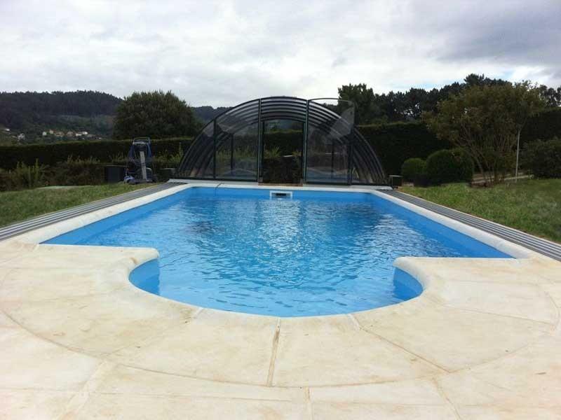 Marcador Cubierta elevada policarbonato piscina modelo Iglu Telescópica sin guías